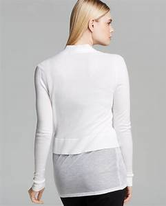 Dkny Sheer Layer Cardigan In White Lyst