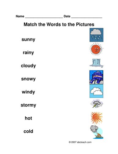worksheet matching weather by abcteach teaching resources