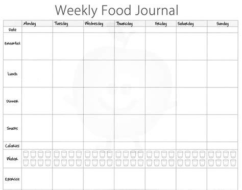 food journal template excel calendar monthly printable