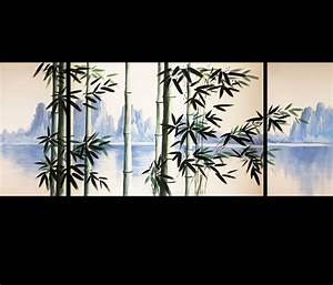 Original Paintings on Canvas Bamboo Painting Modern Wall