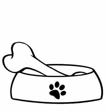 Bone Dog Bowl Clipart Outline Coloring Printable