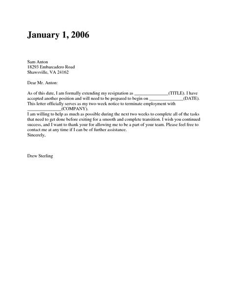 2 week letter of resignation how to write letter of resignation two weeks notice or 27199