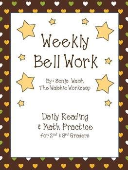 weekly bell work bundle  daily reading math practice