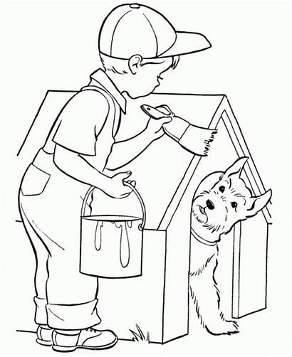 Coloring Dog Painting Sheets Grade Geography Clipart