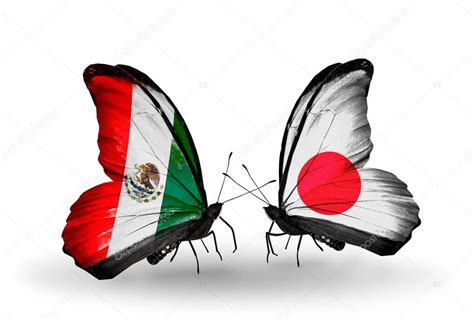 Two butterflies with flags on wings of Mexico and Japan ...