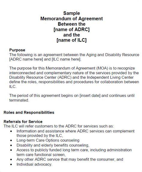 memorandum of agreement 12 sle memorandum of agreement templates to sle templates