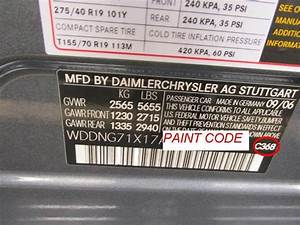 Mercedes Benz Paint Code Location And Color Code  U0026 Name