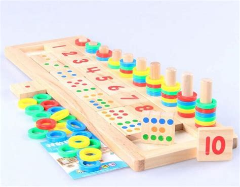 montessori rainbow rings dominos children preschool 218 | montessori rainbow rings dominos children preschool teaching aids counting and stacking board wooden math toy