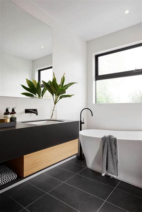 Modern Black And White Bathroom With Black Tile & Matte