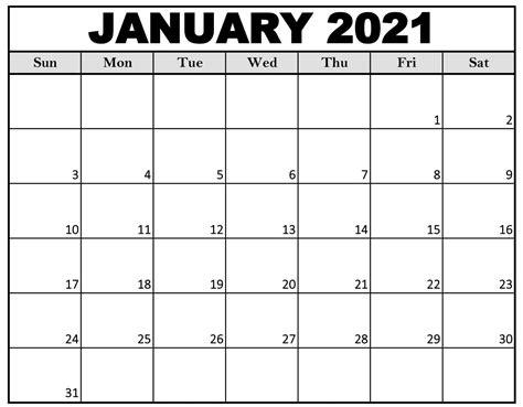 28+ January 2021 Calendar With Holidays  Background