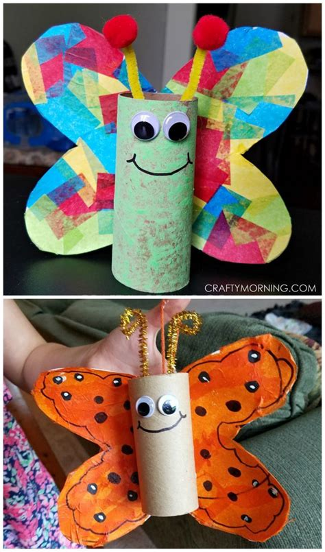 cardboard tube butterfly kids craft spring crafts