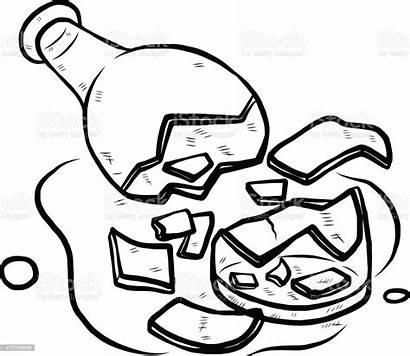 Broken Glass Bottle Vector Coloring Beer Alcohol