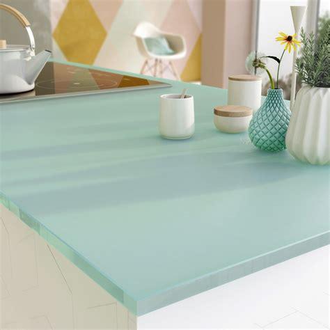 plan de travail cuisine en verre plan de travail sur mesure verre laqué eau marine ep 15