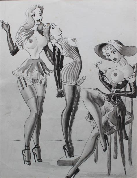 Porn Pic From Vintage Femdom Erotic Drawings