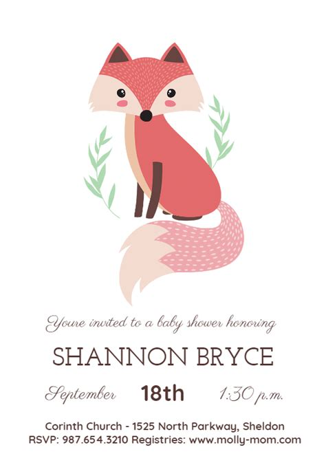 fox baby shower invitation template
