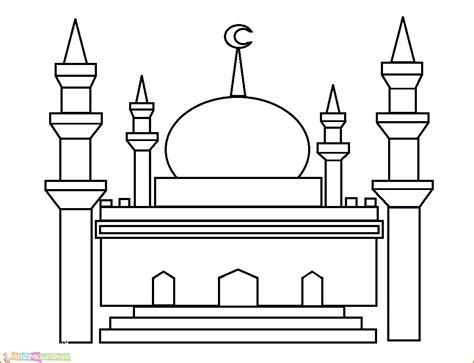 mewarnai gambar masjid untuk anak sd