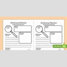 Dictionary Detective Worksheet  Activity Sheet, Worksheet