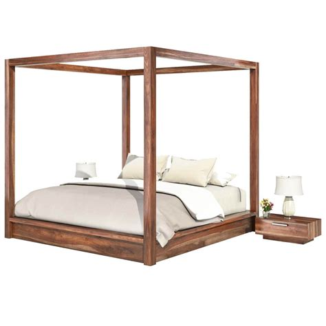 hampshire rustic solid wood queen size canopy bed frame