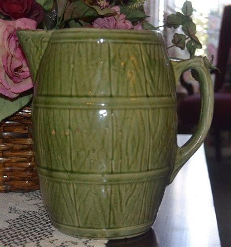 Vintage Mccoy Green Stoneware Barrel Pitcher Shield Mark