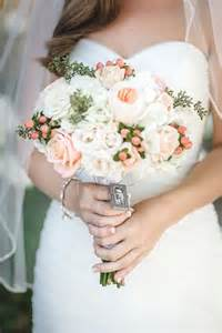 Navy and Peach Wedding Bouquets