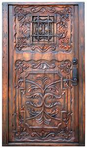 Carved, Door, With, Grilled, Peep