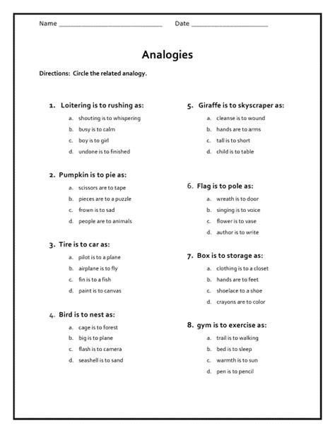 free analogy worksheets kiddo shelter
