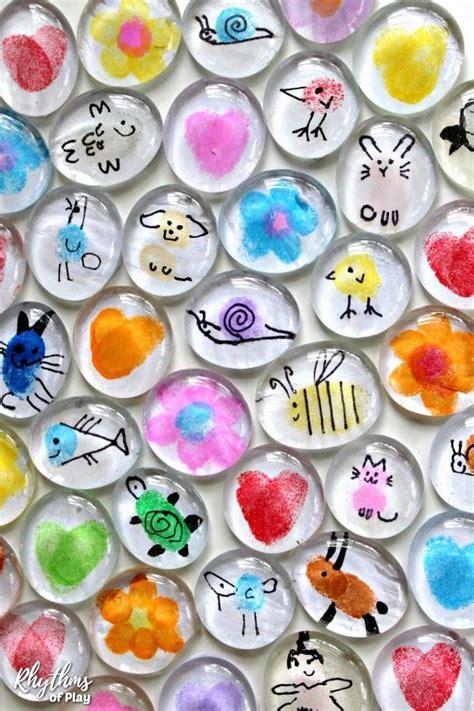 fingerprint art glass magnets craft  kids video