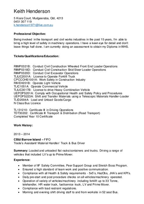 sle resume for mining industry