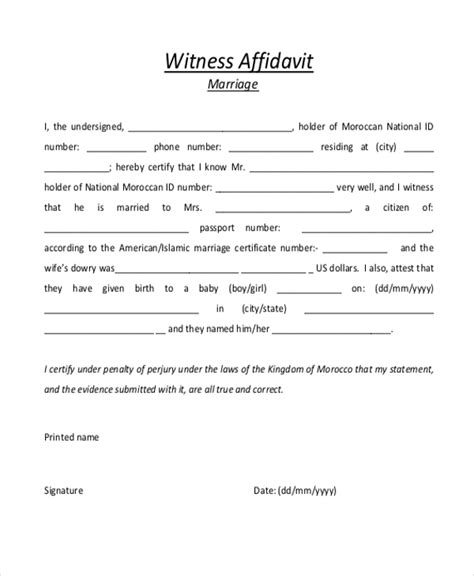 witness affidavit form witness letter template free marriage witness affidavit