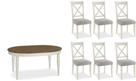 Georgie   Oval Extending Dining Table and 6 Chairs with Walnut Top   Fishpools