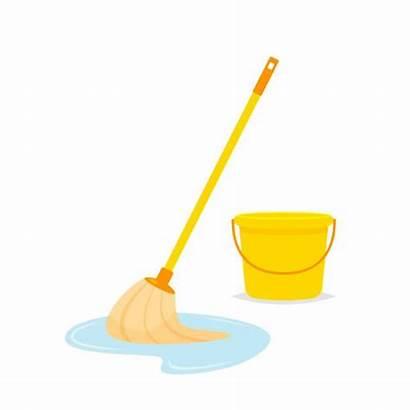 Mop Bucket Clip Cleaning Clipart Wischmopp Boden