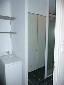 1 an 3 salles de bain 3 gris et blanc With miroir salle de bain placard