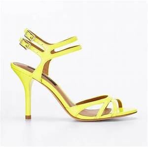 Ann Taylor Riley Patent Strappy Sandals in Yellow neon