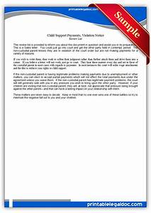 Child Support Agreement Letter Template Free Printable Child Support Payments Viiolation Notice