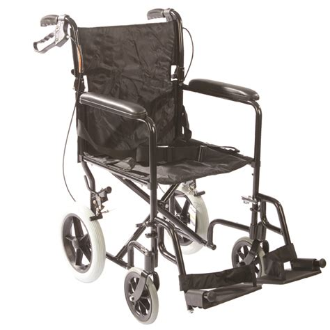 black aluminum transport chair with 12 inch rear wheels