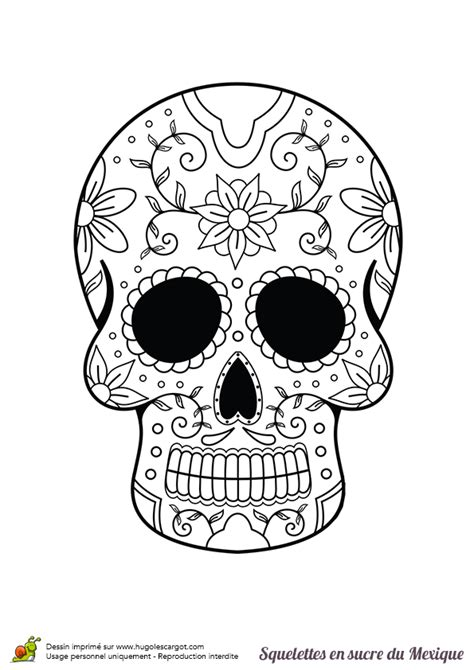 coloriage squelette sucre fleurs  moustache sur