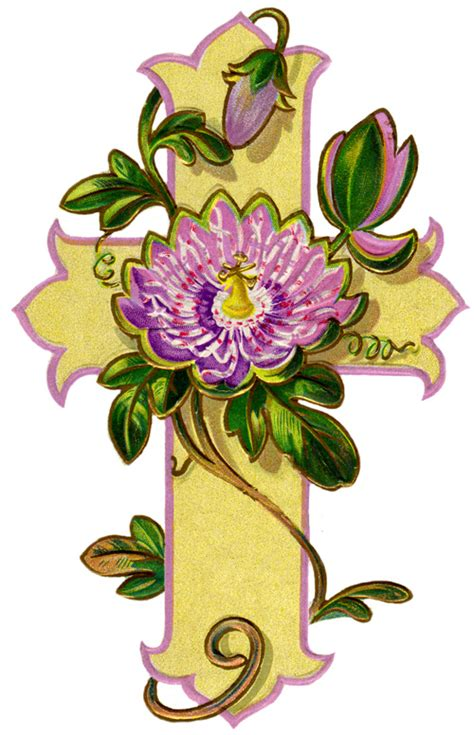 Flowers with Religious Cross Clip Art