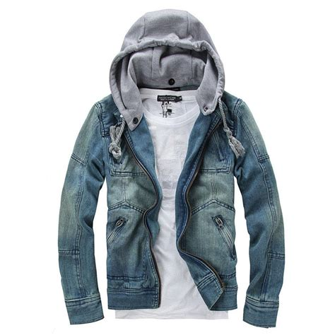 Denim Jacket Men Hooded Jean Jackets Streetwear Slim Fit Vintage Mens Jacket And Coat Outdoors ...