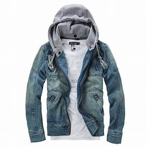 Denim Jacket Men Hooded Jean Jackets Streetwear Slim Fit Vintage Mens Jacket And Coat Outdoors ...