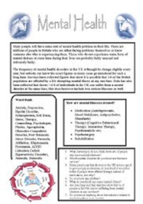worksheet mental health