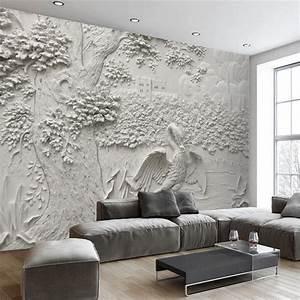Papier Peint Blanc Relief : beibehang personnalis papier peint moderne salon fond blanc reliefs grue arbre art rev tement ~ Melissatoandfro.com Idées de Décoration