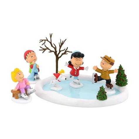 set   peanuts skating pond  figurine collectiblessears