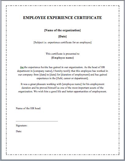 employee experience certificate template word templates