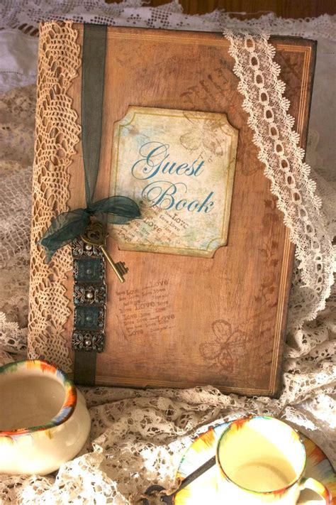shabby chic wedding guest book wedding guest book vintage shabby chic style custom on luulla