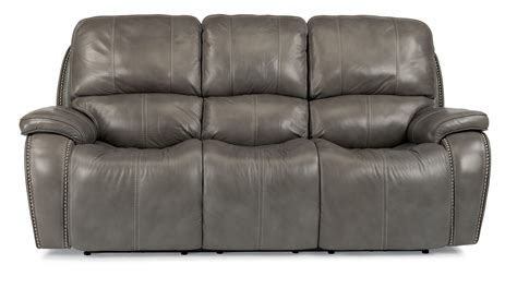 flexsteel latitudes mackay power reclining sofa with nailheads and usb charging ports olinde s