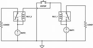 Batteries - Wiring Emergency Stop Button To Disconnect Two Independent Circuits