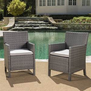 Clarance, Outdoor, Wicker, Dining, Chairs, With, Light, Grey, Water, Resistant, Cushions, Set, Of, 2, Grey