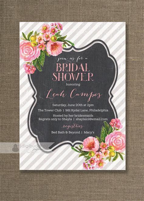 pink floral bridal shower invitation pink roses chalkboard