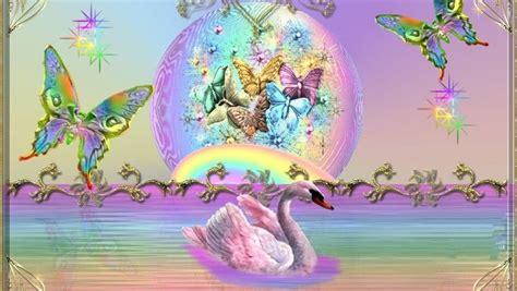 unicorns rainbows  butterflies background rainbows