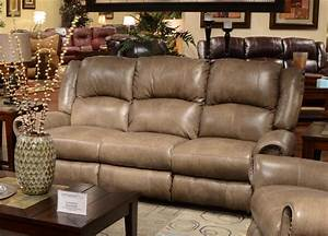 Livingston power leather reclining sofa with drop down for Sectional sofa with drop down table